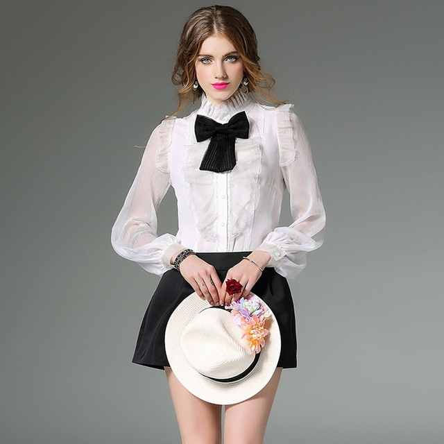 e87add9b7102e XL Shirt New Fashion Business Career Women Black Bow Tie Ruffles Floral  Silk Chiffon Long Sleeve