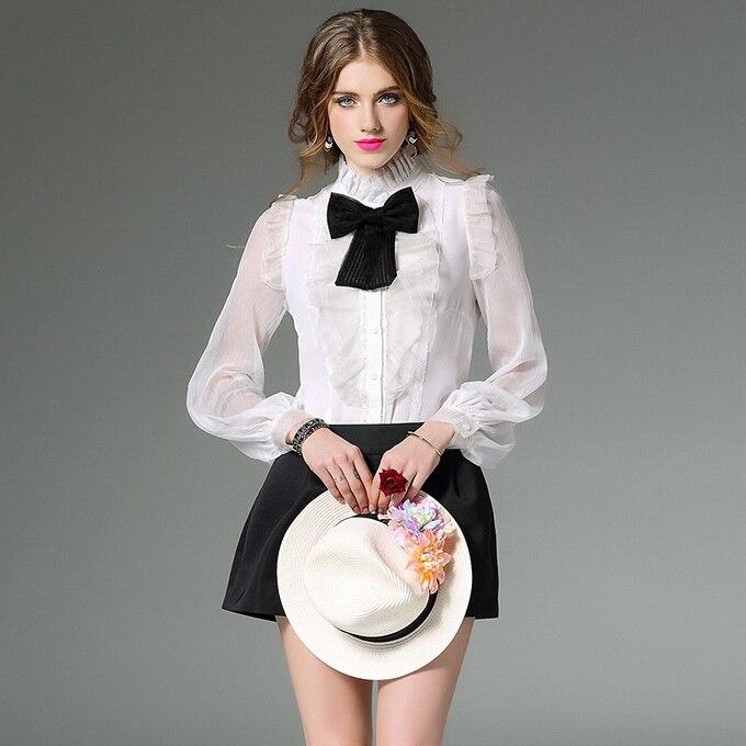 Popular White Ruffle Bow Tie Shirt-Buy Cheap White Ruffle Bow Tie ...
