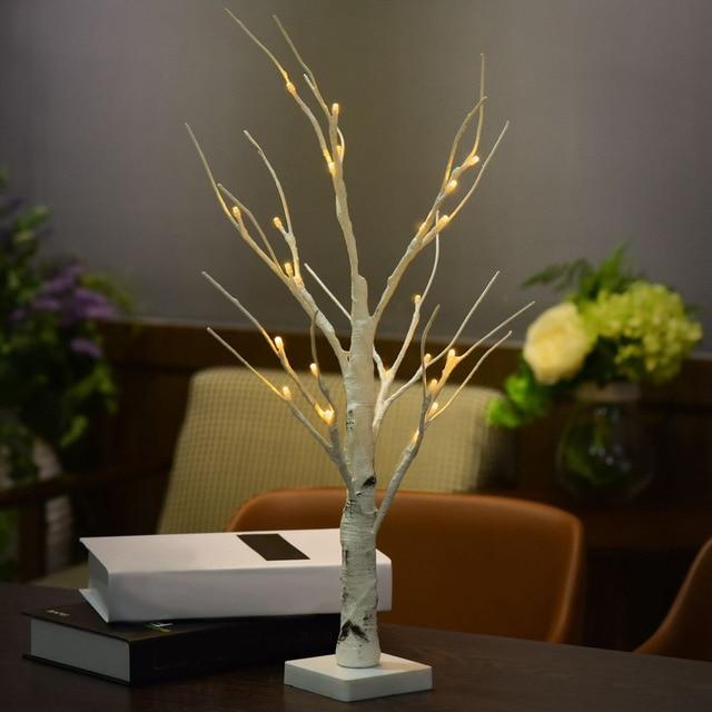 ICOCO 60cm Height Silver Birch LED Light Modern Indoor Tree Lamp Landscape Night Light Table Light Festival Christmas Decoration