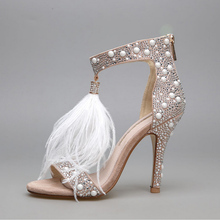 New Sexy Women Summer High Heel Sandals Genuine Leather Rhinestone Genuine High Heel Feather Women's Wedding Shoes Female Pumps