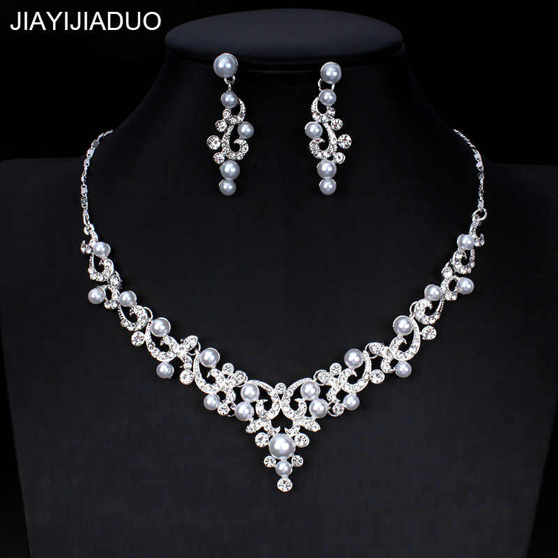 jiayijiaduo  Wedding Jewelry Set for Women Bridesmaid Gift Jewelry Silver Color Imitation Pearl Crystal Necklace Earrings Set