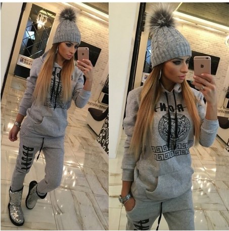 2016 New Ladies Tracksuits Hoodies Sweatshirt + Long Pants Sportwear Costumes Women Pants 2 Piece Set