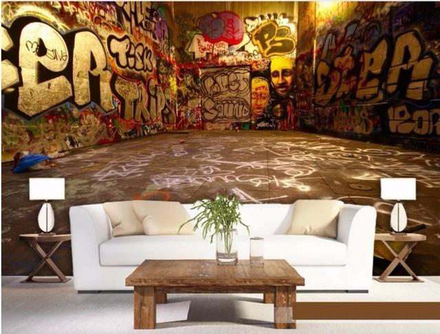 Retro Art Woonkamer : D muurschildering maatwerk street art kleurrijke graffiti behang