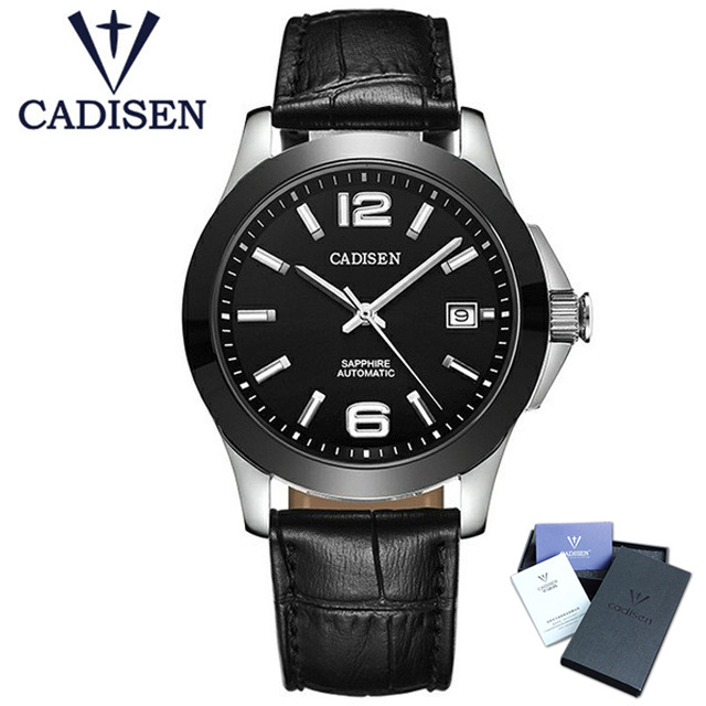 CADISEN Top Mens Watch Luxury Fashion Business Sapphire Crystal Dial Window Men Wristwatch AUTO Date Automatic Mechanical Watch deluxe ailuo men auto self wind mechanical analog pointer 5atm waterproof rhinestone business watch sapphire crystal wristwatch