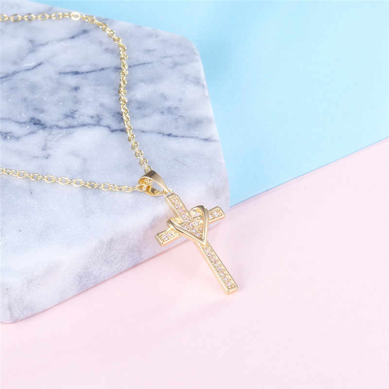 Romad Lovely Chic Infinity Cross Pendant Necklace For Women Gold Color Zircon Chain Choker Necklace Jewelry Collares Mujer 2018