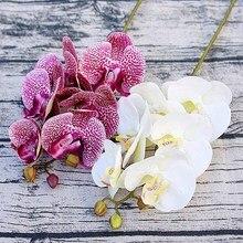 Simülasyon 3D küçük kelebek orkide 6 kafa/paket sahte çiçek ev perdelik duvar düğün dekorasyon diy yapay Phalaenopsis