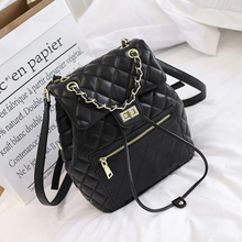 Female Backpack Plaid PU Leather Women Backpacks High Quality Shoulder Bags Student Bag Black Pack цена 2017