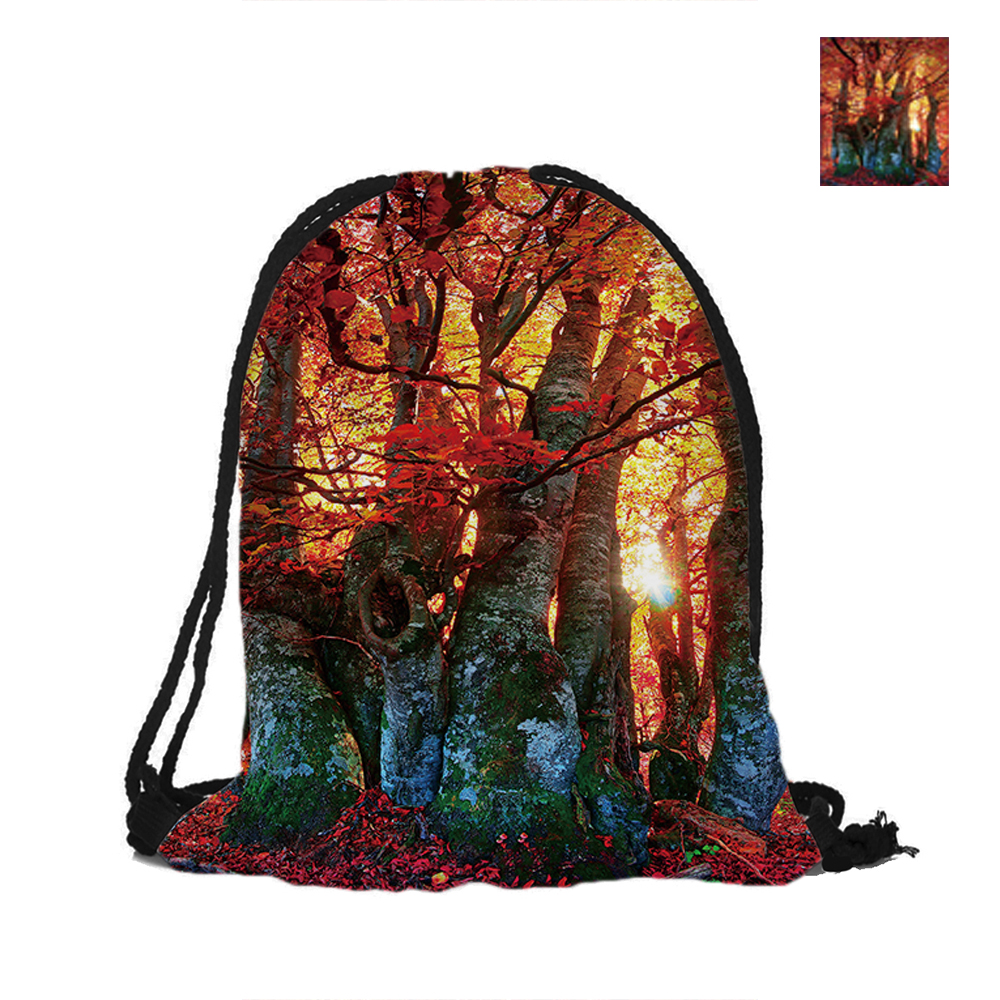 Forest And Sun Printing Drawstring Backpack Fashion Polyester Bags For Women Men Pouch Backpacks Travel School Used deanfun emoji backpack 2016 new fashion women backpacks 3d printing bags drawstring bag for men s79