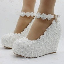 fashion white wedges wedding pumps Sweet white flower lace platform pump shoes pearl wedding shoes bride dress lace high heels