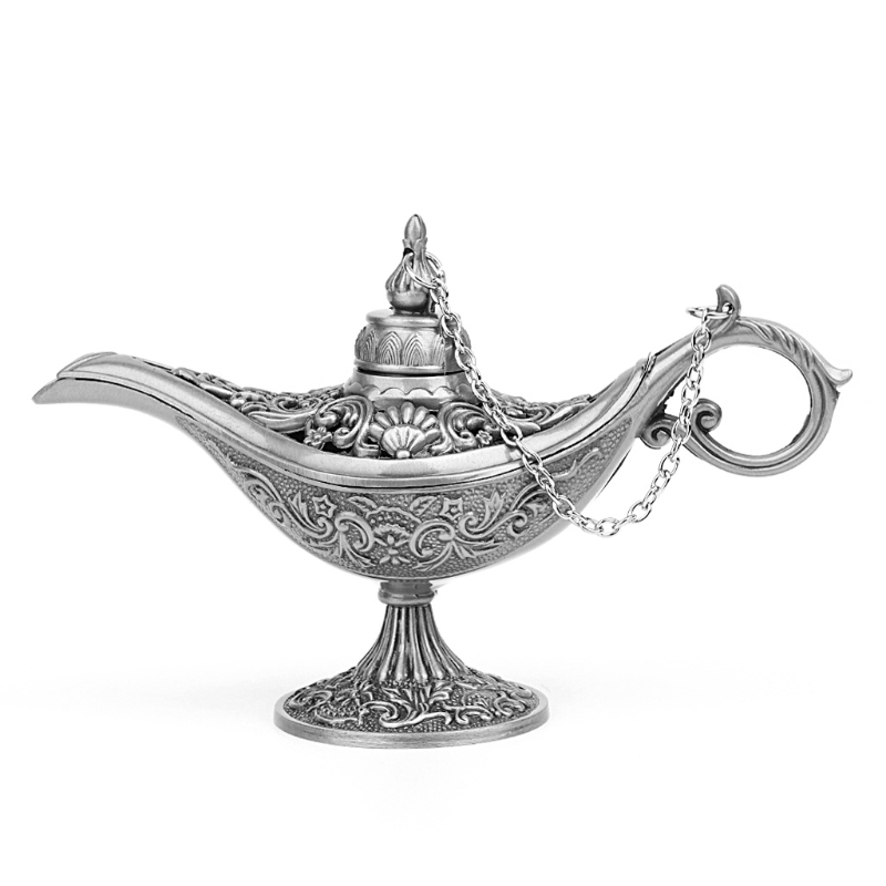 1PC Hollow Carved Aladdin Genie Oil Lamp Zinc Alloy Metal Novelty Light Vintage Pot Arabian Light Fashion