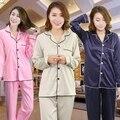 Mulheres De Cetim De Seda Pijamas Set Pijama Pijama Sleepwear Conjunto Loungewear