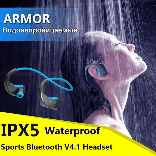 Dacom armor impermeable correr deporte auricular inalámbrico bluetooth v4.1 auricular del oído-gancho auricular con micrófono de reproducción de música