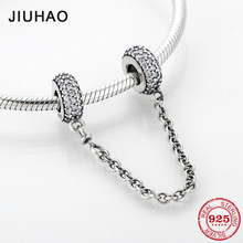 2018 Fashion 925 Sterling Silver DIY round clear CZ fine Safety Chain Beads Fit Original Pandora Charms Bracelet Jewelry making
