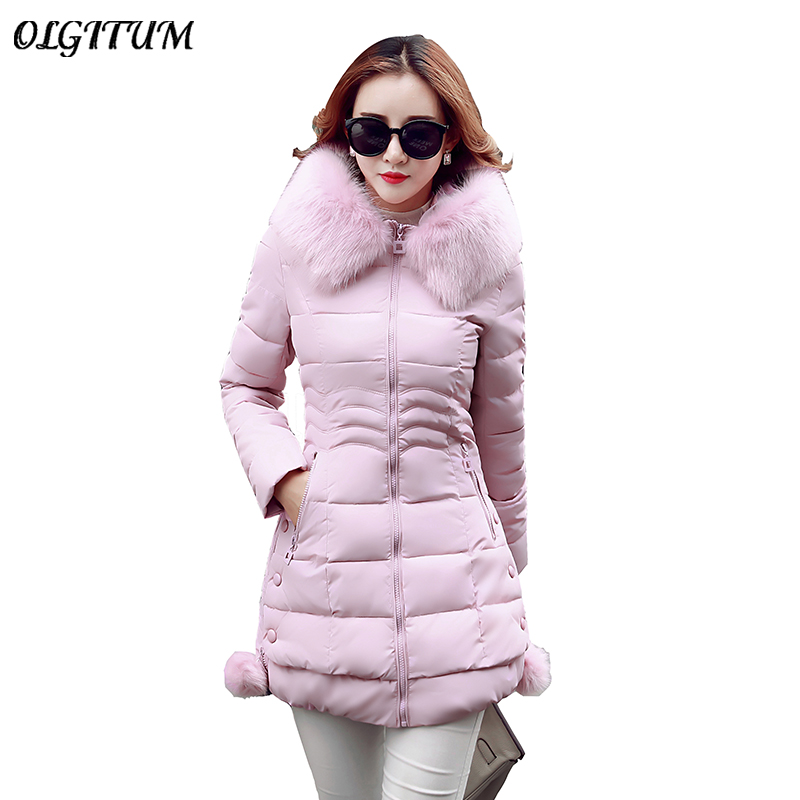 2019 Fashion Women Outwear Winter New Cotton Jacket Long Section Large Size Slim Hooded Cotton Coat Thicker Warm   Parka   Female