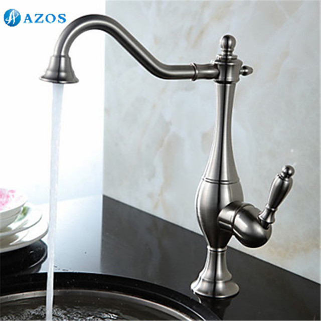 Kitchen Sink Faucets Free Rotatable Vessel Hose Spray Single Handle Nickle Brushed Antique Brass Deck Mount Wash Mixers CFLT115