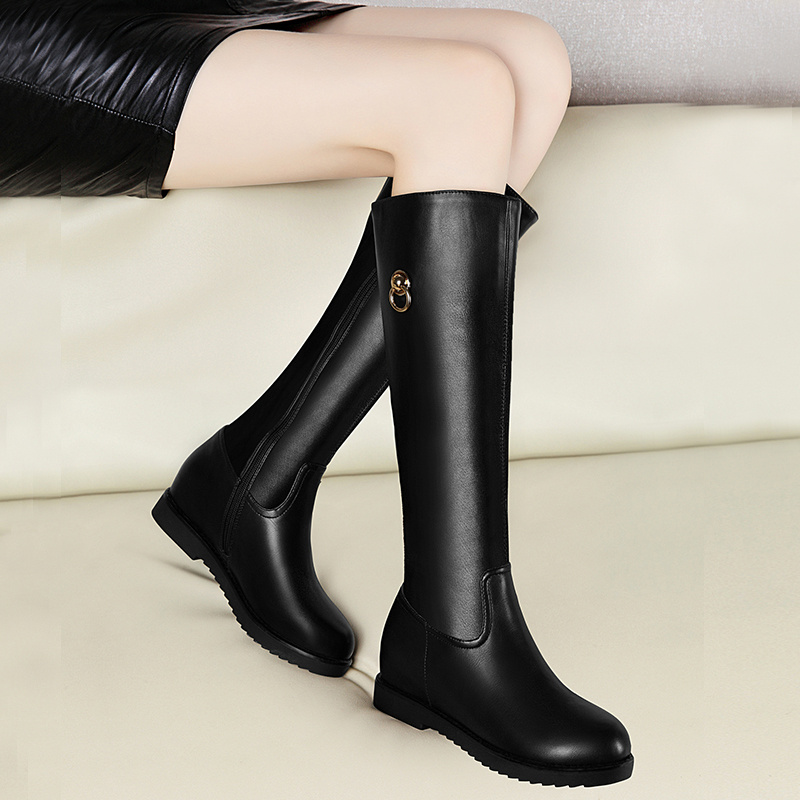 Winter Fashion Zip Style Knee High Womens Riding Boots High Quality PU Leather Height Increasing Round Toe woMen Long Boots stereophonics call us what you want but don t call us in the morning