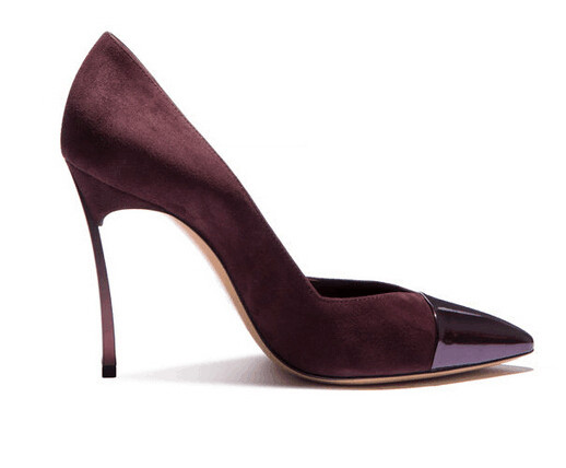 561265ef43 US $75.0 |Sexy Wine Red High Heels Charming Dark Blue Leather Pointed Toe  Dress Shoes Stiletto Heels Slip on Office Lady S Free Ship-in Women's Pumps  ...
