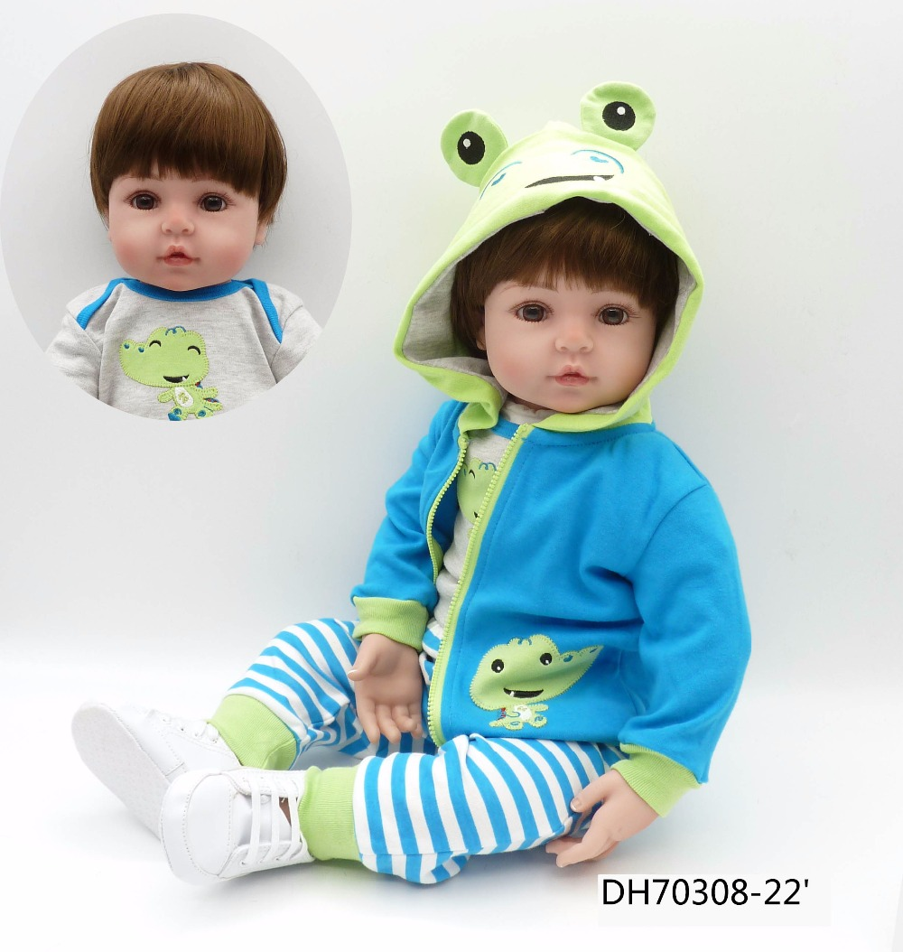 frog clothes boy girl Lifelike Reborn Dolls 24 Inch 61 cm Realistic Soft Vinyl Reborn Dolls Kid