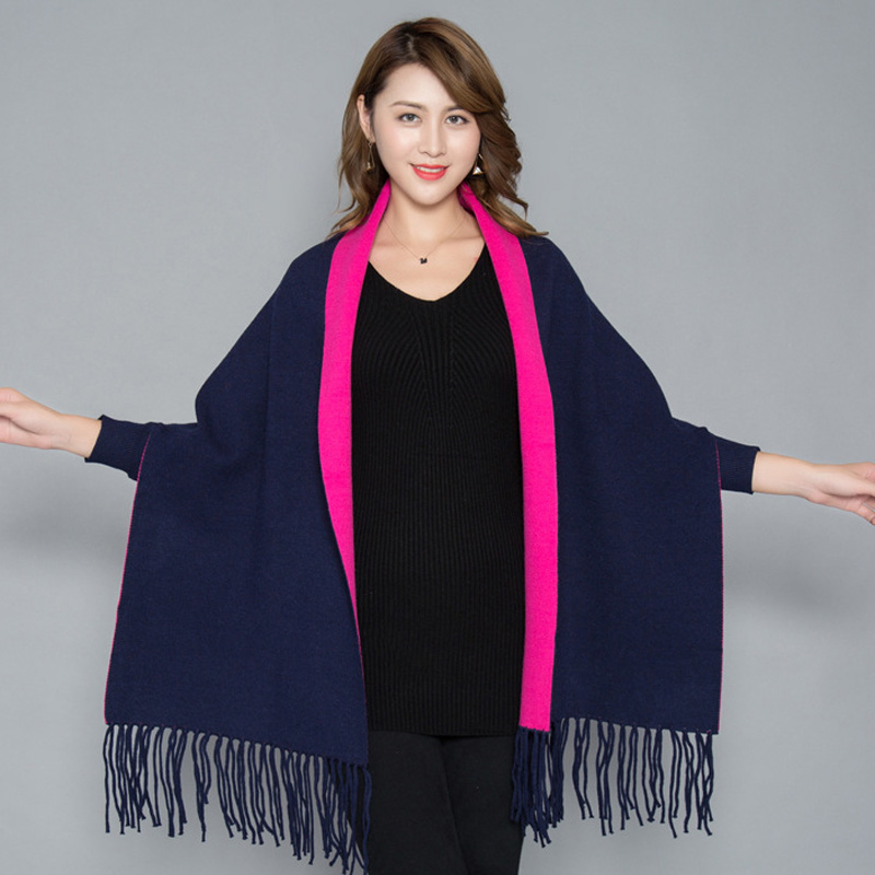 Image 5 - Oversize Double Color Double Use Women Winter Fashion Cashmere Embroidery Flower Embroider Poncho Scarf with Sleeve Tassels-in Women's Scarves from Apparel Accessories