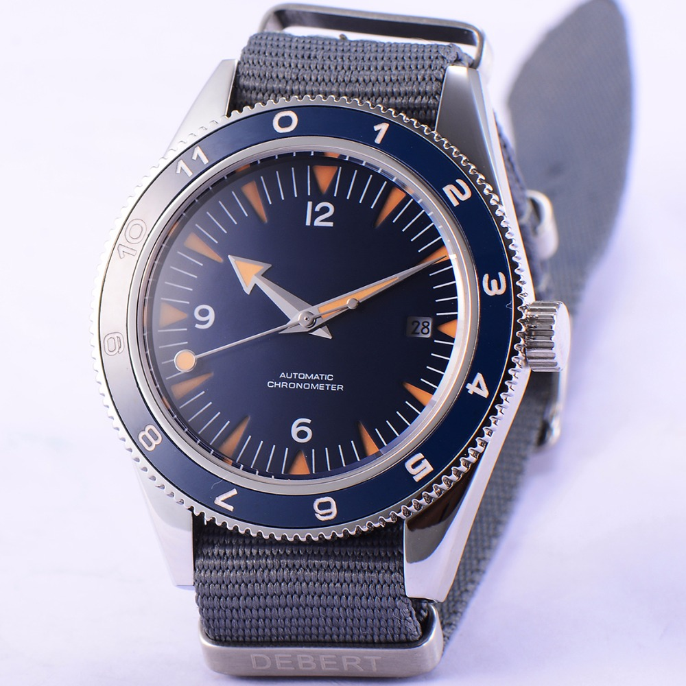 41mm debert blue sterile dial sapphire glass miyota Automatic mens Watch D09 цена и фото