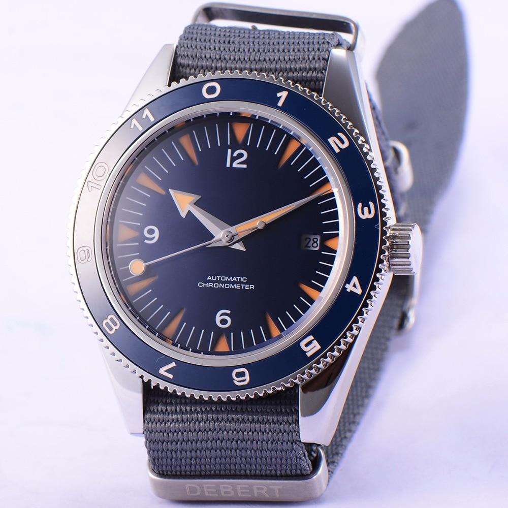 41mm debert blue sterile dial sapphire glass miyota Automatic mens Watch D09