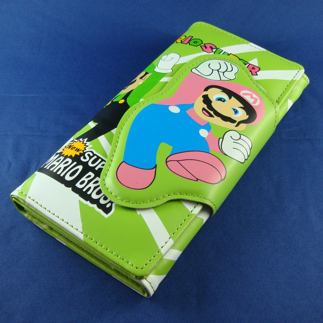 Free shipping New Super Mario Bros. Long Purse Wallet Coin Bag Pouch Star Theme Magnetic Buckle Green/Red W-ML