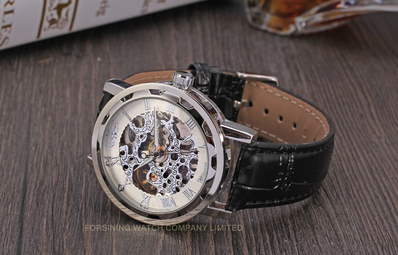 Winner Men Automatic Watch Silver Case White Dial Silver Numerals
