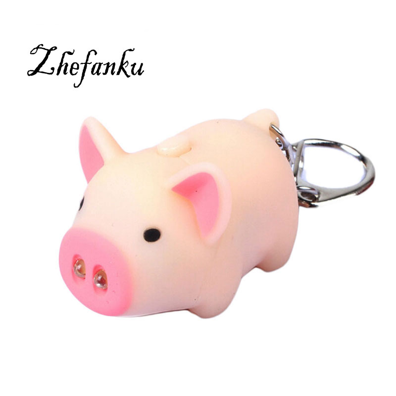 Cute Pig Led Keychains Flashlight Sound Rings Creative Kids Toys Pig Cartoon Sound Light Keychains Child Gift 3 Colors