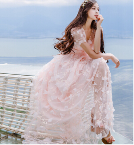 Free Shipping High Quality Embroidery V Collar Short Sleeve 3D Flower  Decorated Gauze Long Dress 7ee54659cab9