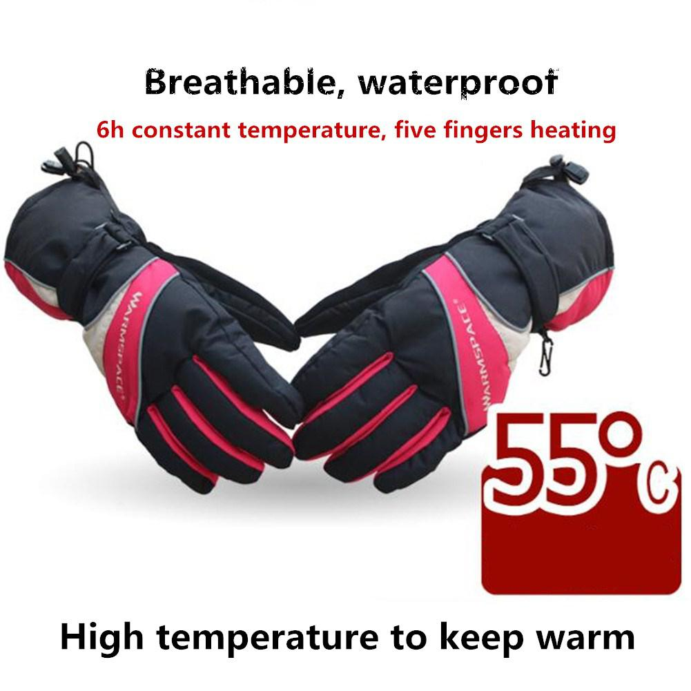 Mounchain unisexe chauffage électrique gants de ski recharge thermique épaissir gants imperméable respirant 6 heures chaud pour le patinage