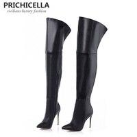 PRICHICELLA/Сапоги до бедра из натуральной кожи на тонком каблуке шпильке с острым носком, Сапоги выше колена, size34 42