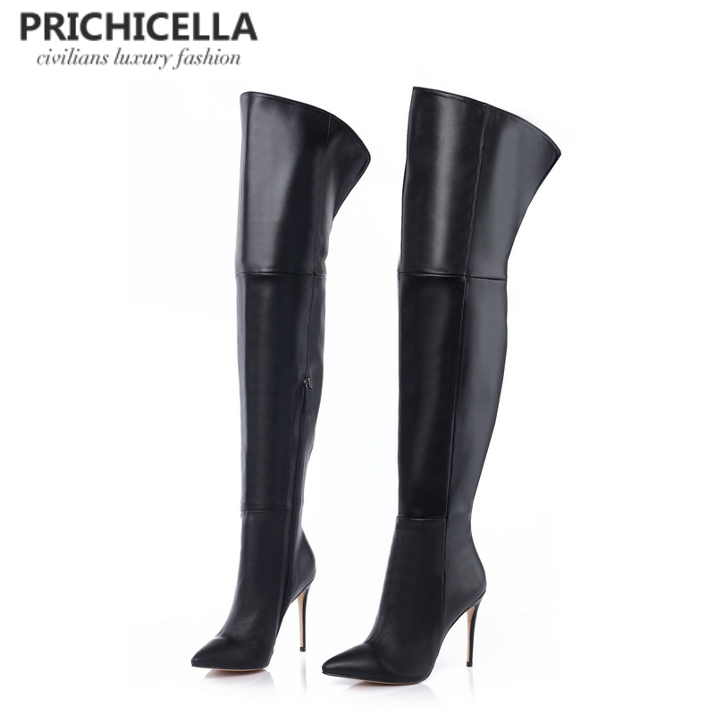 PRICHICELLA genuine leather thigh boots stiletto thin heels pointed toe over the knee boots size34-42