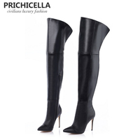 PRICHICELLA Genuine Leather Thigh Boots Stiletto Thin Heels Pointed Toe Over The Knee Boots Size34 42