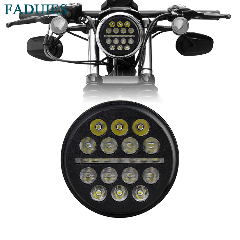 FADUIES 5.75 5 3/4 Harley Motorcycle LED Daymaker Headlight With DRL For Harley Sportster Iron 883 1200 Dyna Street Bob FXDB harley led daymaker headlights 5 75 inch hi lo beam projector headlight for harley dyna sportster 1200 48 883 trun signal lights