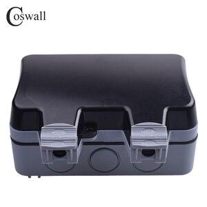Image 4 - Coswall IP66 עמיד עמיד למים חיצוני קיר כוח שקע 16A כפול האירופי תקן חשמל לשקע הארקה AC 110 ~ 250V