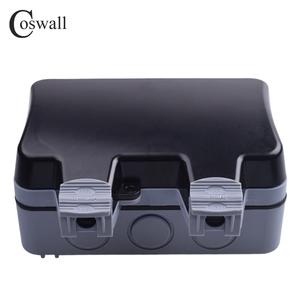 Image 2 - Coswall IP66 Weatherproof Waterproof Outdoor Black Wall Power Socket 16A 2 Gang EU Standard Electrical Outlet Grounded