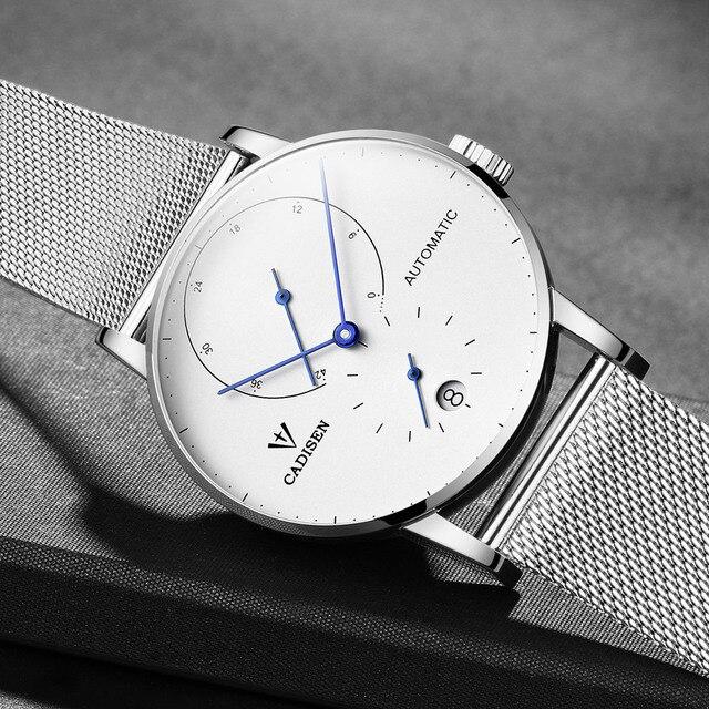 CADISEN Top Mens Relógios Top Marca de Luxo Automático Mecânica Assista Homens de Aço Completa Negócios À Prova D' Água Relógios Do Esporte Da Forma