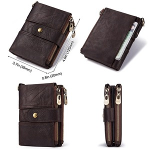 Image 5 - 100% Genuine Leather Rfid Wallet Men Crazy Horse Wallets Coin Purse Short Male Money Bag Quality Designer Mini Walet Small