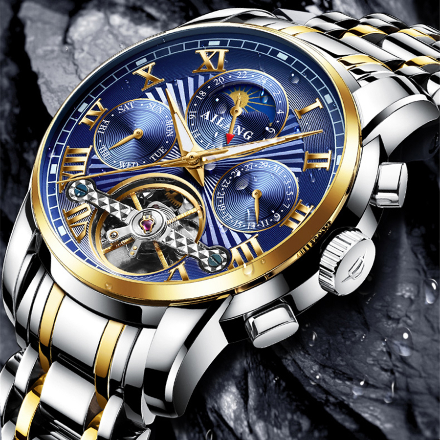 Mens Multifunction Automatic Mechanical Watches AILANG Men Luxury Tourbillon Watch Male Stainless Steel Wristwatches Relogios