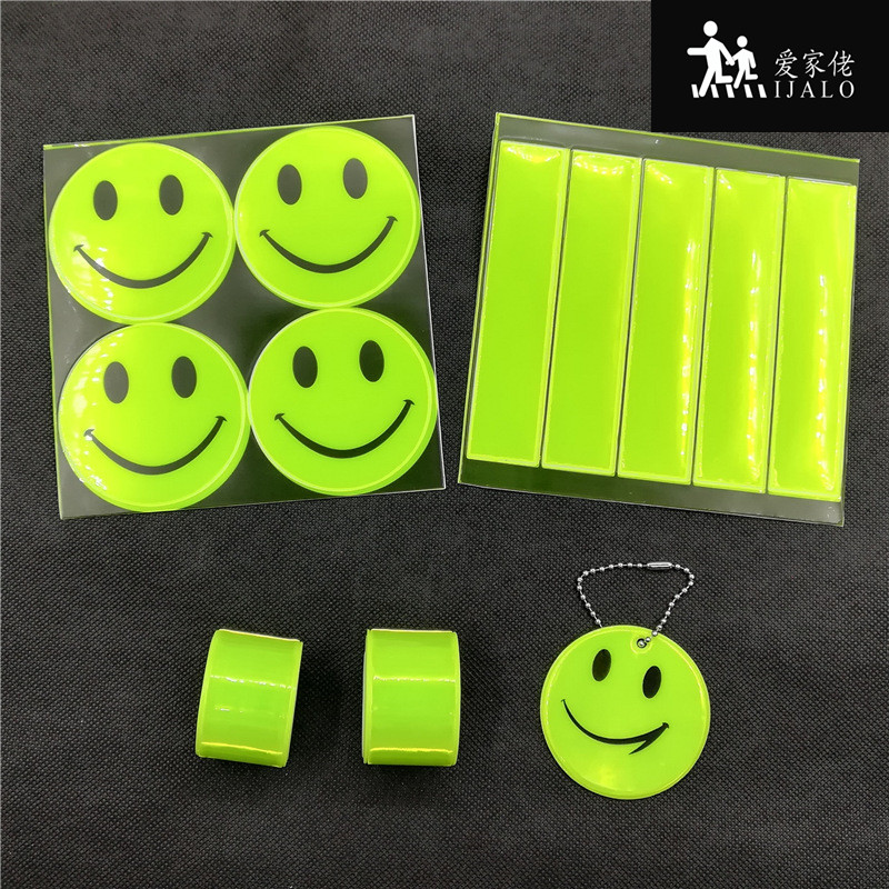 Lime smile face Reflective set promotion reflective sticker pendant bracelets for visibility safety use riding safe cute smile faces high visibility