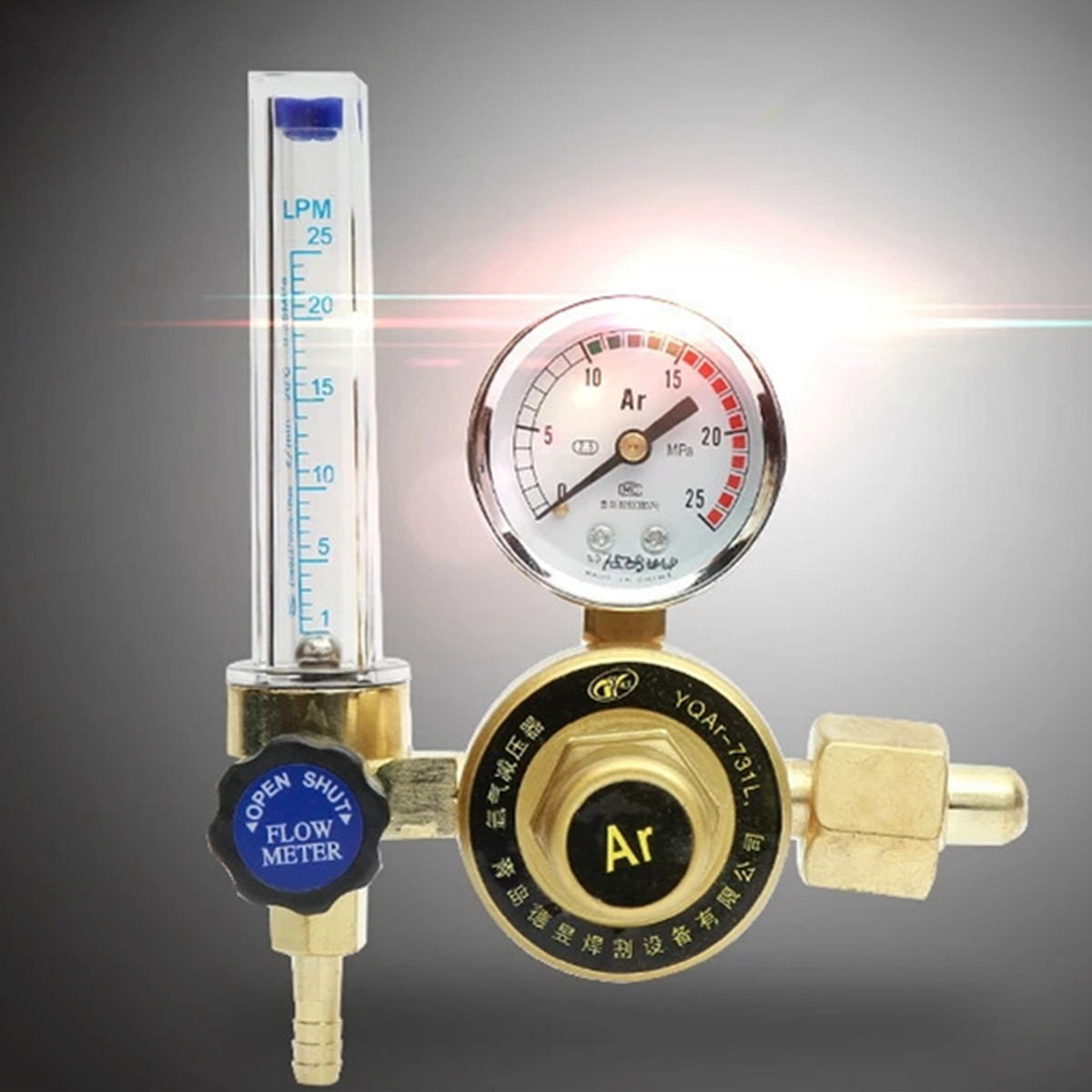 Mig Flow Meter Gas Argon 7mm Barb 1/4PT 0.15 MPA AR/CO2 Regulator Welding Weld Transparent Gold 16.5 x 5.5cm for Ar Gas high quality 1 4pt thread 7mm barb argon gas flow meter welding weld regulator 0 15 mpa