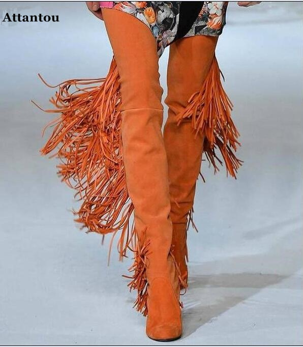 new style orange suede over the knee long boots long Tassel flat shoes women dressing concise