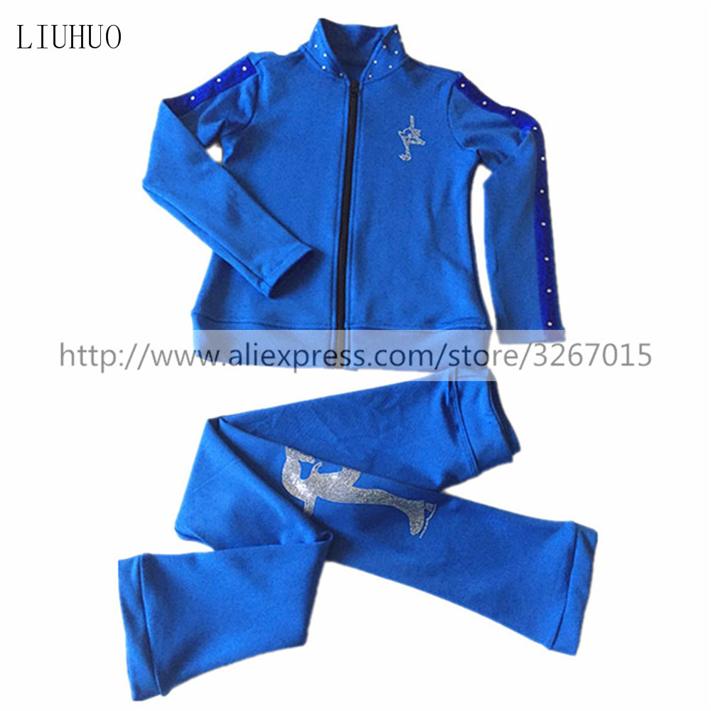Figure Skating Jacket With Pants Women's Girls' Ice Skating Tracksuit  Blue Stretchy Training Competition Skating Wear Solid