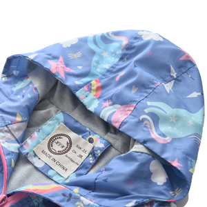 Image 3 - Neue Frühling Mädchen Jacken Und Mäntel Mit Kapuze Einhorn Regenbogen Muster Kinder Windjacke Jacken Herbst Jacken Für Mädchen Kinder Mantel