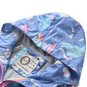 Image 3 - חדש אביב בנות מעילי מעילי סלעית Unicorn קשת דפוס ילדים מעיל רוח מעילי סתיו ילדה ילדי מעיל