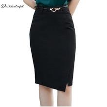 Dushicolorful Elegant skirts Womens office High Waist Slim black midi skirt Summer 2019 Knee Length side Split Ladies workwear