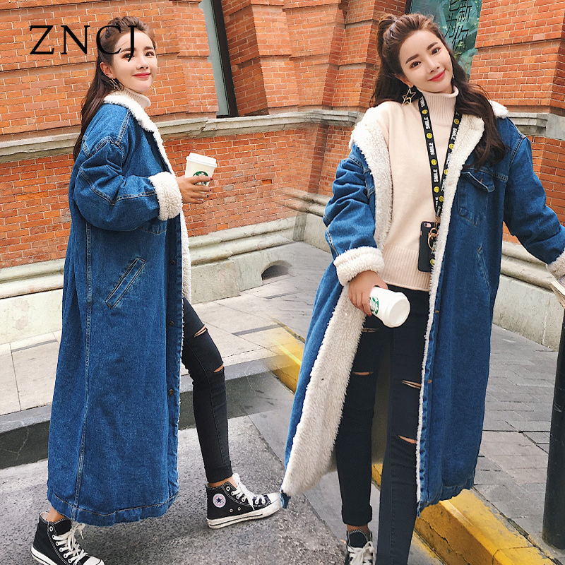 ZNCJ Autumn Thick Trench Women's Fashion Winter Warm Wool Cashmere Coat Korean Loose Cotton Denim Jacket Lamb Long Outwear New цены онлайн