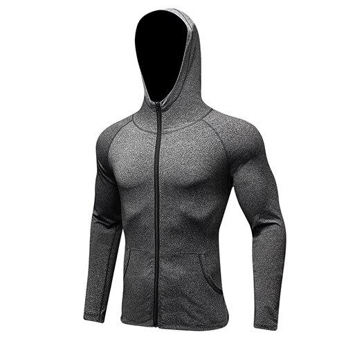 YEL, Спортивная мужская рубашка с длинным рукавом, шапка+ молния, женские футболки для бега, спортивная одежда для спортзала, спортивный топ, мужская спортивная одежда, Рашгард - Цвет: gray