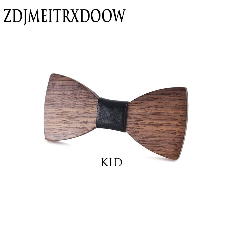 New Design Customize Small Size Boys Wooden Bow Ties Baby Kids Bowties Butterfly Cravat Gravata School Child Student Wood Tie