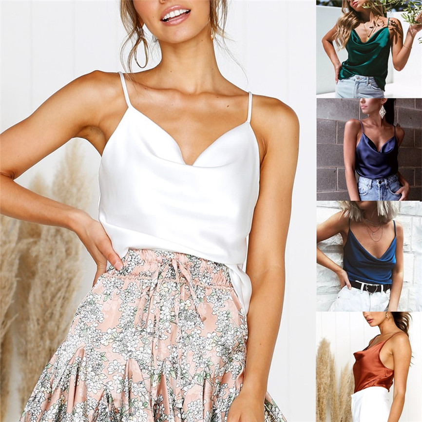2019 New Fashion Women Summer Sexy Womens Fashion Solid Color Adjustable Casual Basic Strappy Solid   Tank   V-neck Shirt   Top